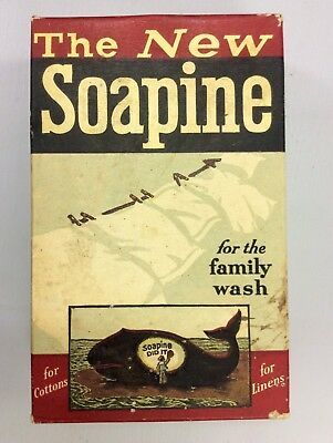 Rare Antique SOAPINE BOX, FULL UNOPENED For the Family Wash Kendall Mfg WHALE