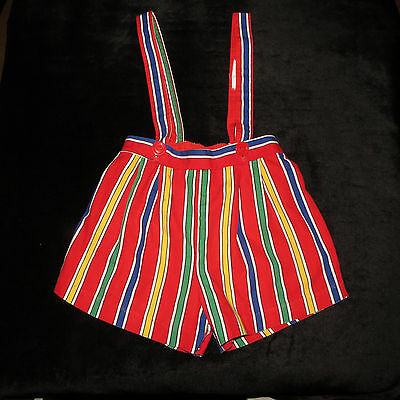Vibrant Colorful Vintage Warren Featherbone Co Short Attached Suspenders 2T Usa