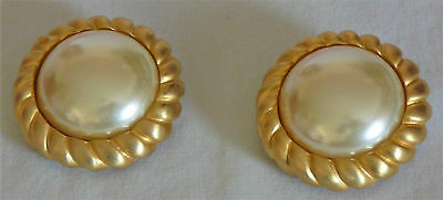 Large pearl and faux gold clip earrings, circa 1980s