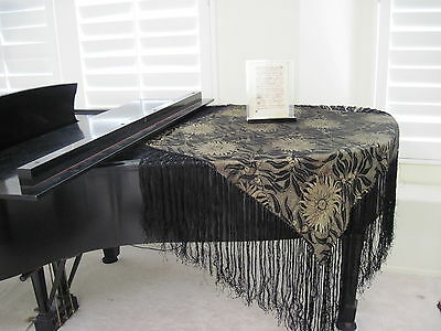 Vintage Gold Black Piano Shawl Scarf With Hand Knotted Fringes 1920 - 1930