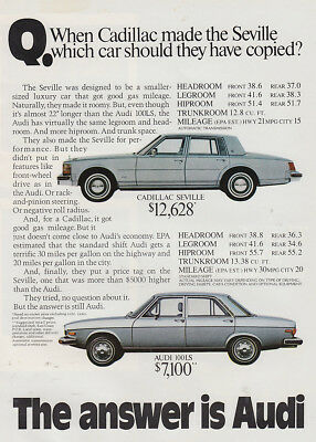 1976 Audi: When Cadillac Made the Seville (28142) Print Ad