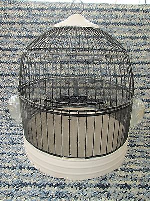 Antique Hendryx brass (painted) beehive bird cage with feeders vintage 1920-1930