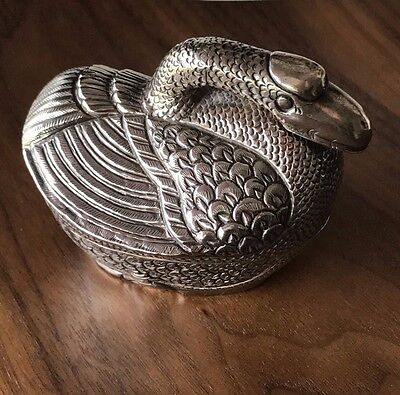 Old Silver Cambodian Khmer Swan Goose Betel Nut or Presentation Box