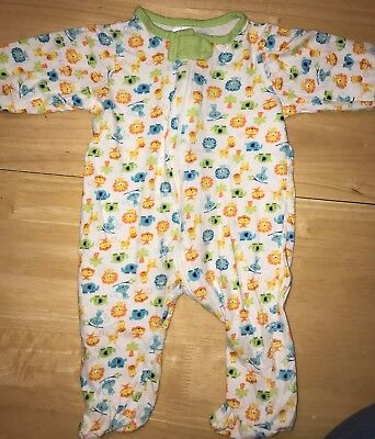 Gerber 3-6 Months Zippered Sleeper With Baby Zoo Animal Print