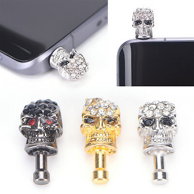 1X diamond skull head general dust plug mobile phone headset dust plug Silver GT