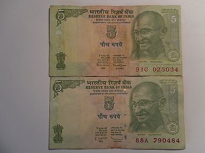 "- India Paper Money - 2 ""mg"" Circulated Notes - Rs.5/-Rare - Two Signatories# E6"