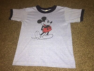TRUE vintage 80s MICKEY MOUSE heather blue BUTTERY SOFT tropix togs THIN T-shirt