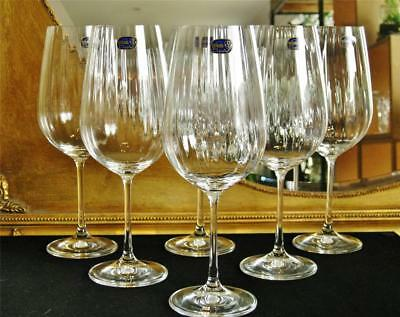 "Boxed set of 6 Bohemia ""Cascade"" water / wine goblets. large 550ml. NEW"