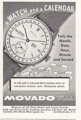 1941 Movado Watches: A Watch and a Calendar (19257) Print Ad