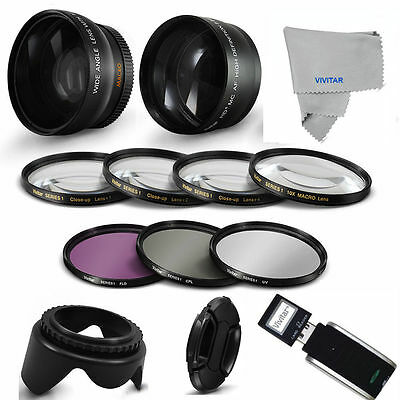 72Mm Wide Angle Lens +  Pro Accessories Kit For Canon Eos Rebel  5D 40D With 72M