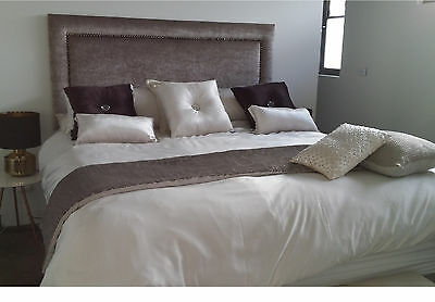 New Bed Head Double Size Upholstered Studded Bedhead / Headboard