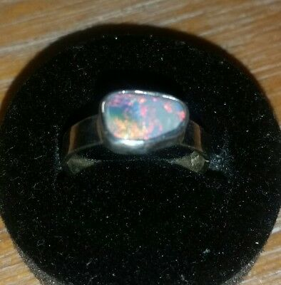 handcrafted black opal ring . 925 Sterling silver. Solid opal.  Size 5