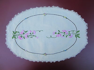 Vintage 'Pretty Pink Floral' Hand Embroidered Doily - 44 cm x 31 cm