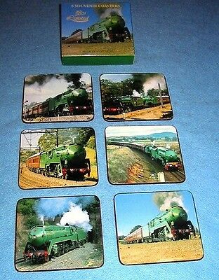 3801 Locomotive/Train DRINK COASTER SET of 6  different photos Aust made