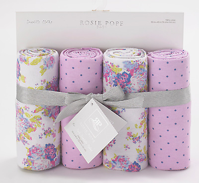 Set of 4 Rosie Pope Lavender Baby Girls Swaddle Blankets Pram Cot Wraps