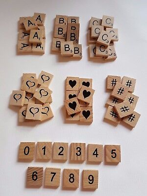 Wooden scrabble letter craft tiles symbols numbers pick & mix you choose