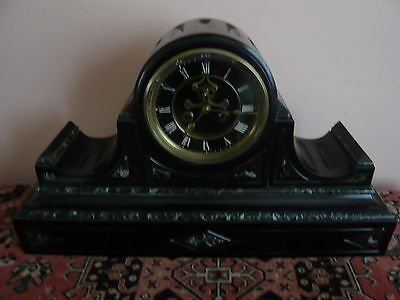 19th Century French black/green marble striking clock