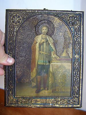 ancient Icon Russian Orthodox Holy Prince Alexander wood copper