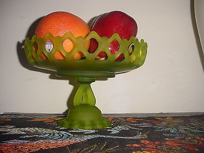 Antique Vintage Green Iridescent Vaseline Lace Glass Pedestal Fruit Stand