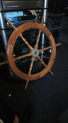 Antique shipping wooden steering wheel