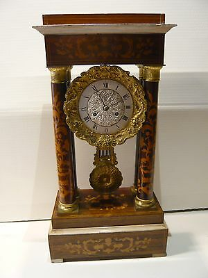 19th Century Large French portico rosewood inlaid striking clock