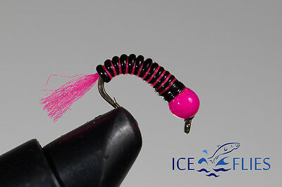 ICE FLIES. Nymph. Rollan,black and pink. (4-pack). Available in size 8 - 14