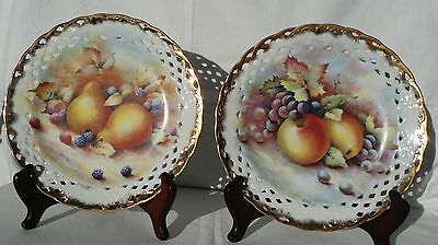Peirced Porcelain Plates (Pr) Hand Decorated by Junel (D Wallace Print)