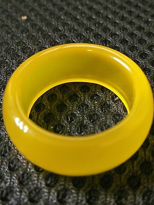 collectable natural yellow jade hand carved man band ring