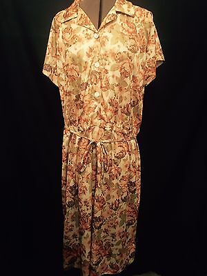 Vintage Floral Print Day Dress Size 22 To 24