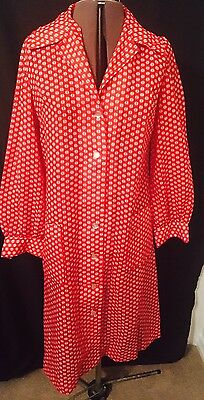 Vintage Red And White Printed Shirt Dress Size M