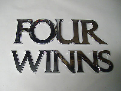 Four Winns Mirrored Plastic Self Adhesive Logo Emblem Decal 055-0595 055-0636