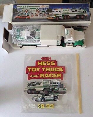 1991 Hess Toy truck and racer NIB & Prototype sign
