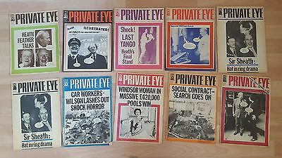 10 Private Eye Magazine.....bidding on 1 only. See listing for numbers  1972-75