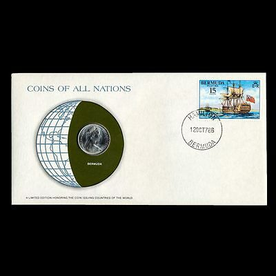 Bermuda 25 Cents 1973 Fdc Pnc Coins Of All Nations Uncirculated Stamp Cover Unc