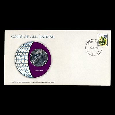 Fiji Islands 50 Cents 1976 Fdc Pnc Coins Of All Nations Uncirculated Stamp Cover