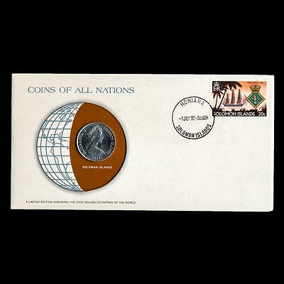 Soloman Islands 20 Cents 1977 Unc Coins Of All Nations Uncirculated Stamp Cover