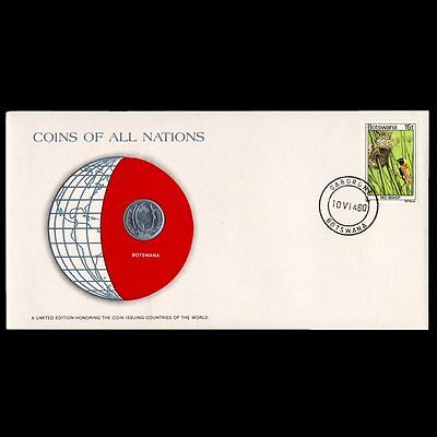 Botswana 1 Thebe 1976 Fdc ─ Coins Of All Nations Uncirculated Stamp Cover Unc