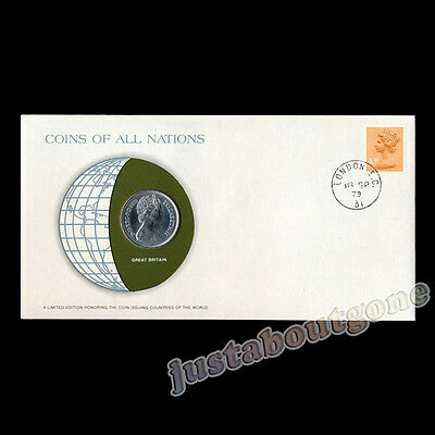 Great Britain 1979 10 Pence Fdc Coins Of All Nations Uncirculated Stamp Cover 79