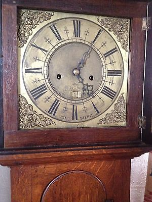 18c Oak Longcase Clock. Ed: Bilbie. 8 day movement, striking bell (1740s)