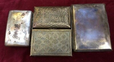 Bundle Of Antique Brass & Silver Plated Brass Decorative Boxes