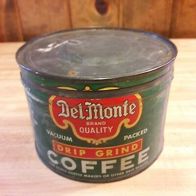Vintage Del Monte 1 lb Coffee Can W/ Lid From Old-Time Farm Auction #6