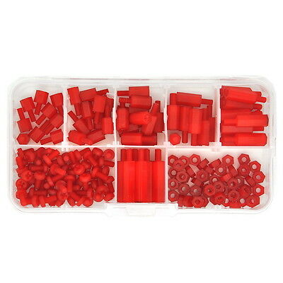 M3 Nylon Red Hex M-F Spacer / Screw / Nut Assorted Kit, Standoff.