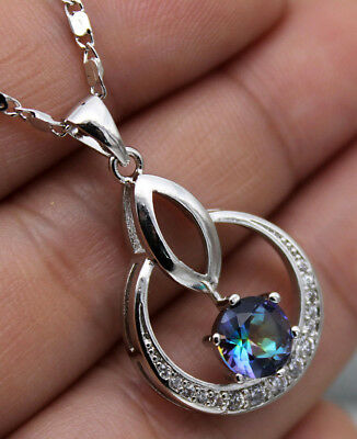 18K White Gold Filled - 7mm Blue MYSTICAL Topaz Circle Hollow Pendant Necklace