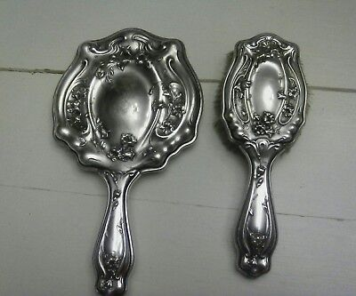 """Antique """"German Silver"""" Hand Mirror and Brush"""
