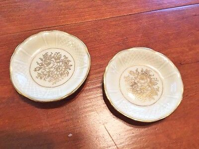 2 Small Limoge Antique Butter Pats in Gold and White - Very pretty.