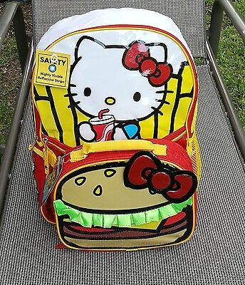 NWT Hello Kitty Girls Burger and Fries 16 Inch Backpack with Lunch Kit