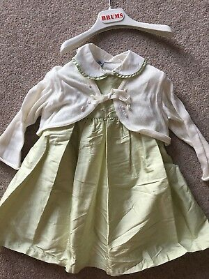 Baby Girls Beautiful Silk Christening Party Dress And Cardigan Age 6/9 Months