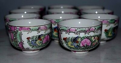 Vintage A.C.F Japanese Porcelain Ware Tea Cup Set of 11 ~ Pink Rust Teal Floral
