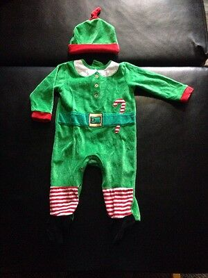 Baby Boy Christmas Santas Little Helper Elf All In One With Hat - 9-12 Months