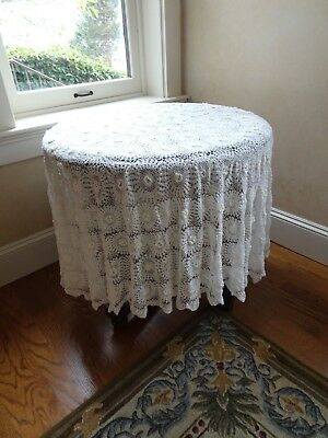 "Antique French Hand Crochet white Tablecloth Round 57"" Excellent"